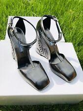 New PRADA Leather Wedge T-Strap Pump Shoe Grey Metallic Square Toe 7.5 US 38 EU