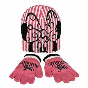 Disney Minnie Mouse Child/Girls Winter 2 Piece Pink & White Hat And Gloves Set