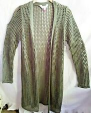 GREEN LONG SLEEVE OPEN FRONT  DUSTER CROCHET SWEATER SMALL