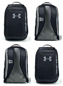 Mens Under Armour UA Hustle Backpack School Padded Bag Sports Travel Black Bag