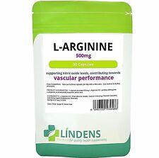 L-Arginine 500mg boosts nitric oxide levels muscle pump 90 capsules Lindens