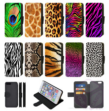 ANIMAL PRINT SKIN printed Flip Phone Case Cover Wallet iPhone 4 5 SE 6 7 8 X