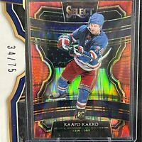 Kaapo Kakko Stature Rookie Card Rare Red Flash Prizm #/75 19-20 Panini Select RC