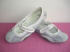 CLARKS SHOES UK 5 SUEDE TEXTILE MARY JANES VELCRO STRAPS LIGHT GREY