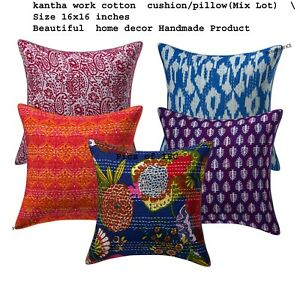 10 Pc Vintage Kantha Cushion Cover Indien Bohemian Patchwork cover 16X16 Inches