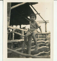 WWII 1945 GI's New Caledonia Photo Javanese boy at the  St Louis Mission