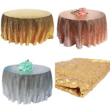 Round Sequin Fabric Table Cloth Shimmer Sparkle Overlay Wedding Party