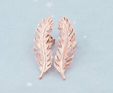 925 Sterling Silver Rose Gold Vermeil Style Feather Stud Earrings 8x26mm.