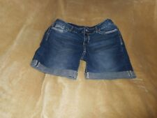 MAURICE BLUE JEAN CUFFED SHORTS WITH STITCHING SIZE 7/8