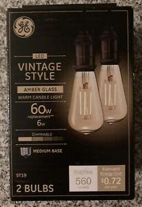 GE Vintage Clear Glass 560 Lumen 6W Dimmable ST19 LED Light Bulb 60W Medium Base