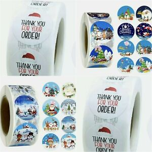 100 Christmas Stickers Gift Bag Seals Lable Thank You Stickers Merry Xmas
