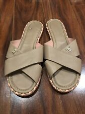 Chanel CC 41 10 Flat Sandals Slides Flip Flops Tan Pink Used Worn Authentic Nice