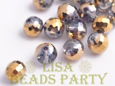 New 20pcs 8mm 96 Facets Round Loose Spacer Glass Beads Bulk Half Gold Plated