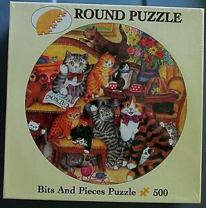 """Tea Time Cats 500 Piece Round Puzzle by Bits & Pieces 19.5"""" Round (no.01-5354)"""