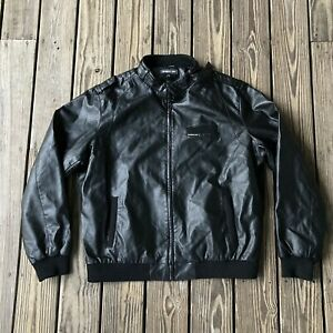 Vtg Vintage Leather Members Only Jacket Black Size XXL Racer Harrington