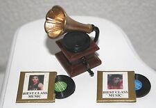 Grammophon Schallplatten Miniatur 1:12 Zubehör Puppenstube Diorama