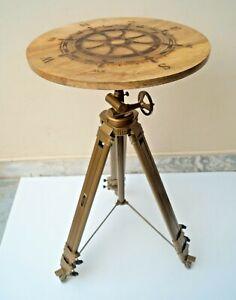 Directional Sea Ship Steering Wheel Designer Logo Engraved Tripod Coffee Table