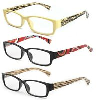 Unique Style Temple Designs w/ Rectangular Frame Reading Glasses w/ Spring Hinge