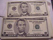 1999 STAR FIVE DOLLAR US FEDERAL RESERVE NOTES 54 FANCY CONSECUTIVE SERIAL NO.
