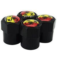 4x Fiat Abarth Badge Tyre Valve Dust caps Black Stainless Steel 500 595 Punto