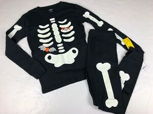 Carter's Boys Halloween Glow In The Dark Skeleton Pajamas NWT 14
