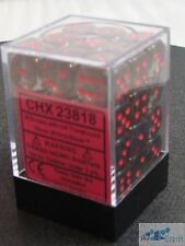 CHESSEX TRANSLUCENT 12mm 36 D6 SMOKE WITH RED PIPS DICE MTG POKEMON