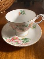 Tuscan Bone China~Birthday Flowers~Teacup and Saucer~England~Pink Gold Flowers