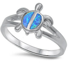 White, Blue, Pink or Green Opal Turtle .925 Sterling Silver Ring Sizes 5-10