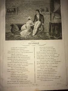 LA FONTAINE. LA FILLE. FABLE ET GRAVURE ,1834.