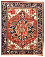 """Hand-knotted Carpet 9'0"""" x 11'6"""" Serapi Heritage Red Wool Rug"""