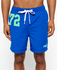 Superdry Men's Premium Water Polo Logo Swimshorts Blue Medium