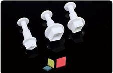 SMALL DIAMOND SHAPE PLUNGER CUTTERS 3 SET CUPCAKES CAKE DECORATING SUGAR CRAFT