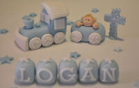 HANDMADE EDIBLE BABY BOY TRAIN CHRISTENING BIRTHDAY CAKE TOPPER DECORATION]