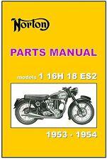 NORTON Parts Manual Models 1 Big 4 16H 18 ES2 1953 and 1954 Spares Catalog List