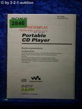 Sony Bedienungsanleitung D E777 /EJ725 CD Player (#2846)