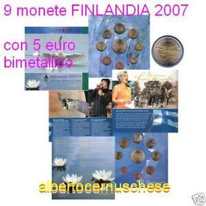 2007 9 monete 8,88 euro 3,88 + 5 FINLANDIA finlande suomi finland II serie