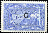 Canada Mint H 1949-50 $1.00 VF Overprinted G Scott #O27 Fishing Stamp