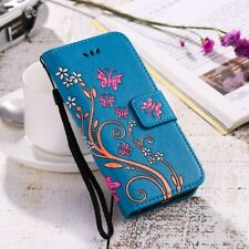 Womens Flip Wallet Case Gel Holder Flower Bow Print Leather Ladies Phone Cover