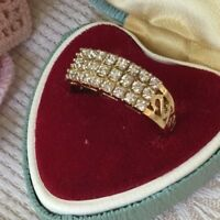 Vintage Jewellery Gold Art Deco Band Ring with White Sapphires Antique Jewelry