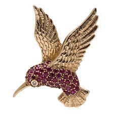 Genuine 9ct Yellow Gold NATURAL Diamond & Ruby Humming Bird Slider Pave Pendant