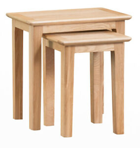 Scandi Oak Nest of 2 Tables / Solid Wood Nested Side Units / Occasional Tables