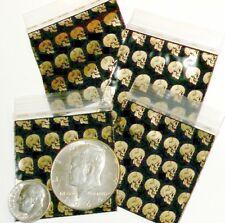 """100 Apple Baggies Golden Skulls 1.75 x 1.75"""" mini ziplock bags 175175"""