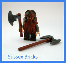 Lego Lord of the Rings Hobbit - Gimli Dwarf Minifigure with Axes - VGC