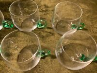 Rare Vintage Sussmuth Germany Blown Glass 8 Cups With Green Handled From 1950