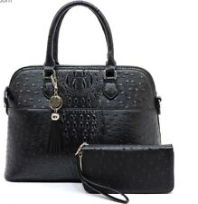 New Women Ostrich and Croco Handbag Embossed Satchel w/ Matching wallet Purse