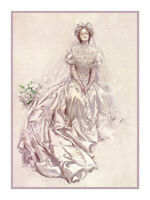 Harrison Fisher Art Deco Cosmo Girl Victorian Bride Counted Cross Stitch Pattern