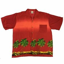 Tropic Threads Hawaiian Shirt Palm Trees Red Men's XXL Rayon