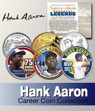HANK AARON SIGNATURE BRAVES WISCONSIN & GEORGIA STATEHOOD QUARTER 3 COIN SET!