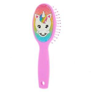 Claire's Club Rainbow Unicorn Mini Paddle Hair Brush Purple
