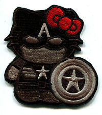 HELLO KITTY AS CAPTAIN AMERICA GREY EMBROIDERED IRON ON PATCH FREE SHIPPING!